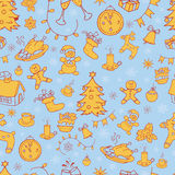 Seamless doodle backgrounds, Christmas, New Year, winter holidays pattern. Stock Photography