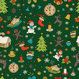 Seamless doodle backgrounds, Christmas, New Year, winter holidays pattern. Royalty Free Stock Image