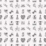 Seamless Doodle Birthday party pattern background Stock Photos