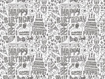 Seamless Doodle Birthday party pattern background. Cartoon vector illustration Stock Photo