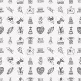 Seamless Doodle Birthday party pattern background. Cartoon vector illustration Stock Photos