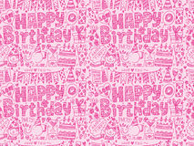 Seamless Doodle Birthday party pattern background. Cartoon vector illustration Royalty Free Stock Image