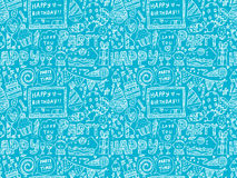 Seamless Doodle Birthday party pattern background. Cartoon vector illustration Royalty Free Stock Photo