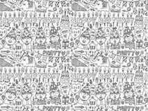 Seamless Doodle Birthday party pattern background. Cartoon vector illustration Stock Photography