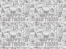 Seamless Doodle Birthday party pattern background. Cartoon vector illustration Royalty Free Stock Images