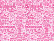 Seamless Doodle Birthday party pattern background. Cartoon vector illustration Stock Images