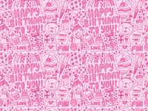 Seamless Doodle Birthday party pattern background. Cartoon vector illustration Stock Image