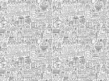 Seamless Doodle Birthday party pattern background Royalty Free Stock Photos