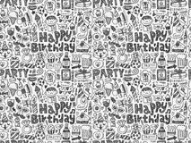 Seamless Doodle Birthday party pattern background. Vector illustration file Royalty Free Stock Photos