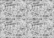 Seamless Doodle Birthday party pattern background. Vector illustration file Stock Photos