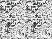 Seamless Doodle Birthday party pattern background Stock Image