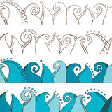 Seamless Doodle Border. Vector set of seamless doodle borders Stock Images