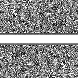 Seamless doodle border. With flowers and leaves Royalty Free Stock Photography