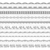 Seamless Doodle Border and Frame Elements Stock Images