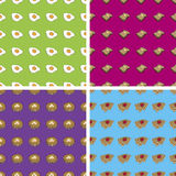 Seamless Doodle Breakfast Patterns. Four Seamless Doodle Patterns: Eggs, Toast, Pancakes, Waffles Royalty Free Stock Photography
