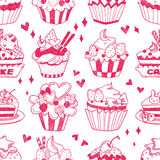 Seamless doodle cake pattern Royalty Free Stock Photography