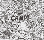 Seamless doodle candy pattern Stock Photography