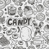 Seamless doodle candy pattern Royalty Free Stock Photo