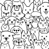 Seamless doodle cats and dogs lineart background. Seamless doodle dogs and cats lineartl background, a lot of breeds in it vector illustration