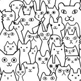 Seamless doodle cats lineart background. Seamless doodle cats line art background, a lot of breeds in it stock illustration