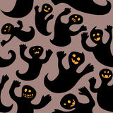 Seamless doodle cheerful halloween ghosts Royalty Free Stock Photo