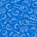 Seamless doodle children toys pattern. Seamless doodle children toys of scoop bucket and ball pattern vector illustration Stock Images