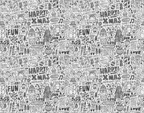 Seamless Doodle Christmas pattern Royalty Free Stock Images