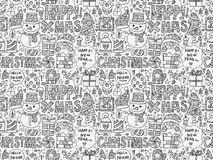 Seamless Doodle Christmas pattern Royalty Free Stock Photography
