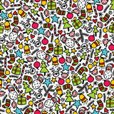 Seamless doodle Christmas pattern. Stock Images