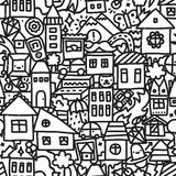 Seamless doodle city vector pattern Royalty Free Stock Image