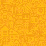 Seamless doodle city vector pattern Royalty Free Stock Images
