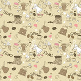 Seamless Doodle Coffee pattern. With items Stock Photo