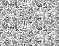 Seamless doodle coffee pattern background Stock Image