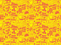 Seamless doodle coffee pattern background Stock Images
