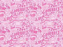 Seamless doodle coffee pattern background Stock Photo
