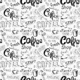 Seamless doodle coffee pattern background Stock Photos
