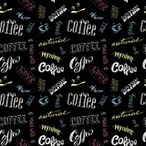 Seamless doodle coffee pattern on black background ,hand drawn Royalty Free Stock Photos