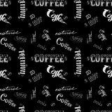 Seamless doodle coffee pattern on black background ,hand drawn Stock Photo