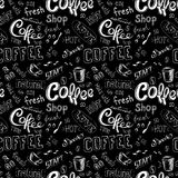 Seamless doodle coffee pattern on black background Stock Photo