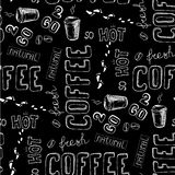 Seamless doodle coffee pattern on black background Royalty Free Stock Photo