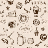 Seamless doodle coffee pattern, hand drawn. Vector Royalty Free Stock Images