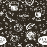 Seamless doodle coffee pattern, hand drawn. Vector illustration Stock Images