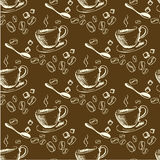 Seamless doodle coffee pattern Royalty Free Stock Images