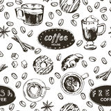 Seamless doodle coffee pattern, hand drawn. Vector illustration. EPS royalty free illustration