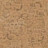 Seamless doodle coffee pattern with lettering on craft old paper background, hand drawn vector illustration Stock Image