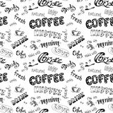 Seamless doodle coffee pattern Stock Photography