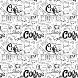 Seamless doodle coffee pattern on white background Stock Photos