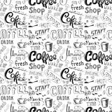 Seamless doodle coffee pattern on white background. Royalty Free Stock Photo