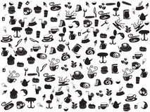 Seamless doodle coffee and tea patterns. Hand drawing seamless doodle coffee and tea patterns for webdesign on white background Stock Photography