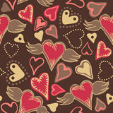 Seamless doodle colorful hearts. Seamless doodle pastel colored hearts on dark grey background Stock Images